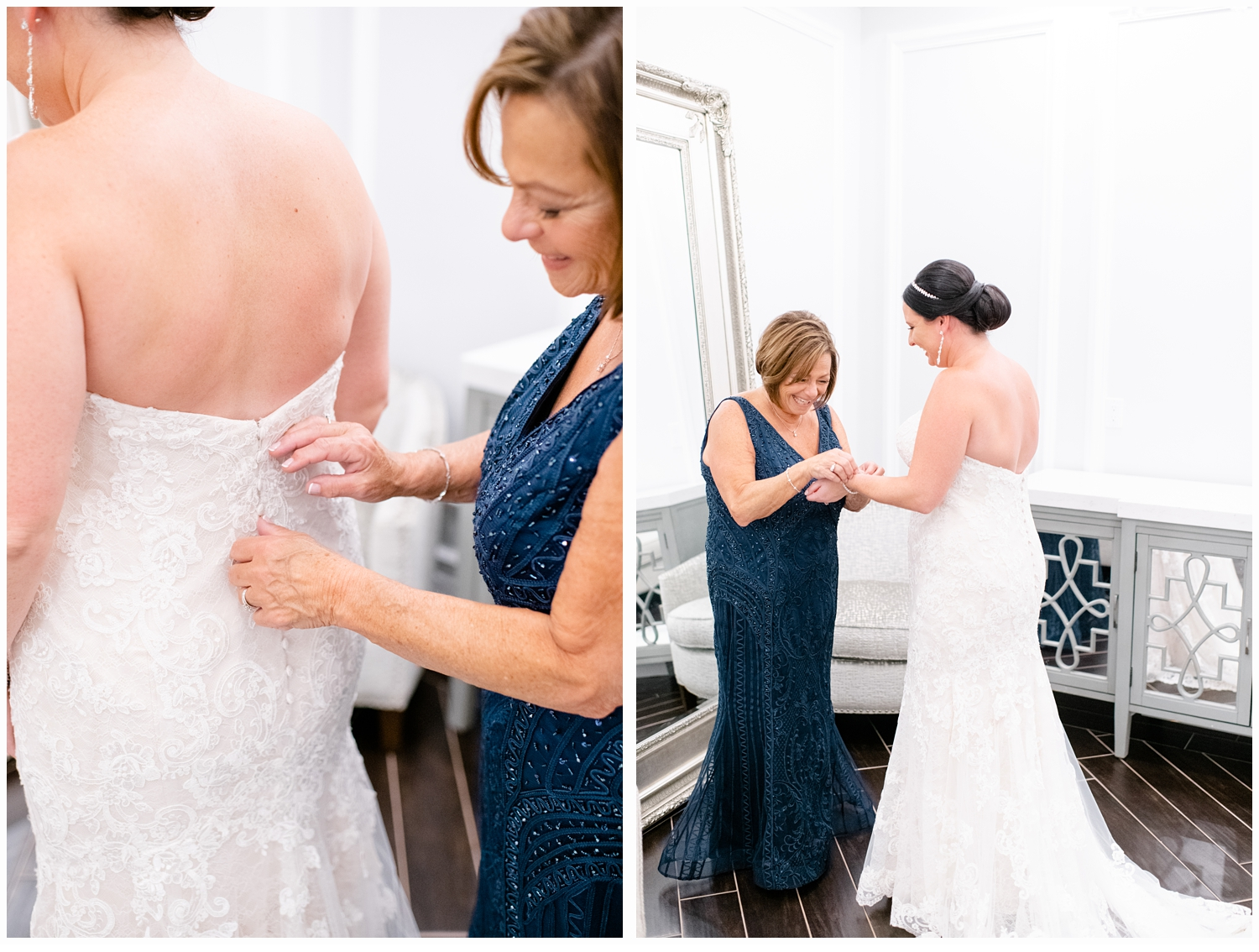 mom helping her daughter put on wedding gown