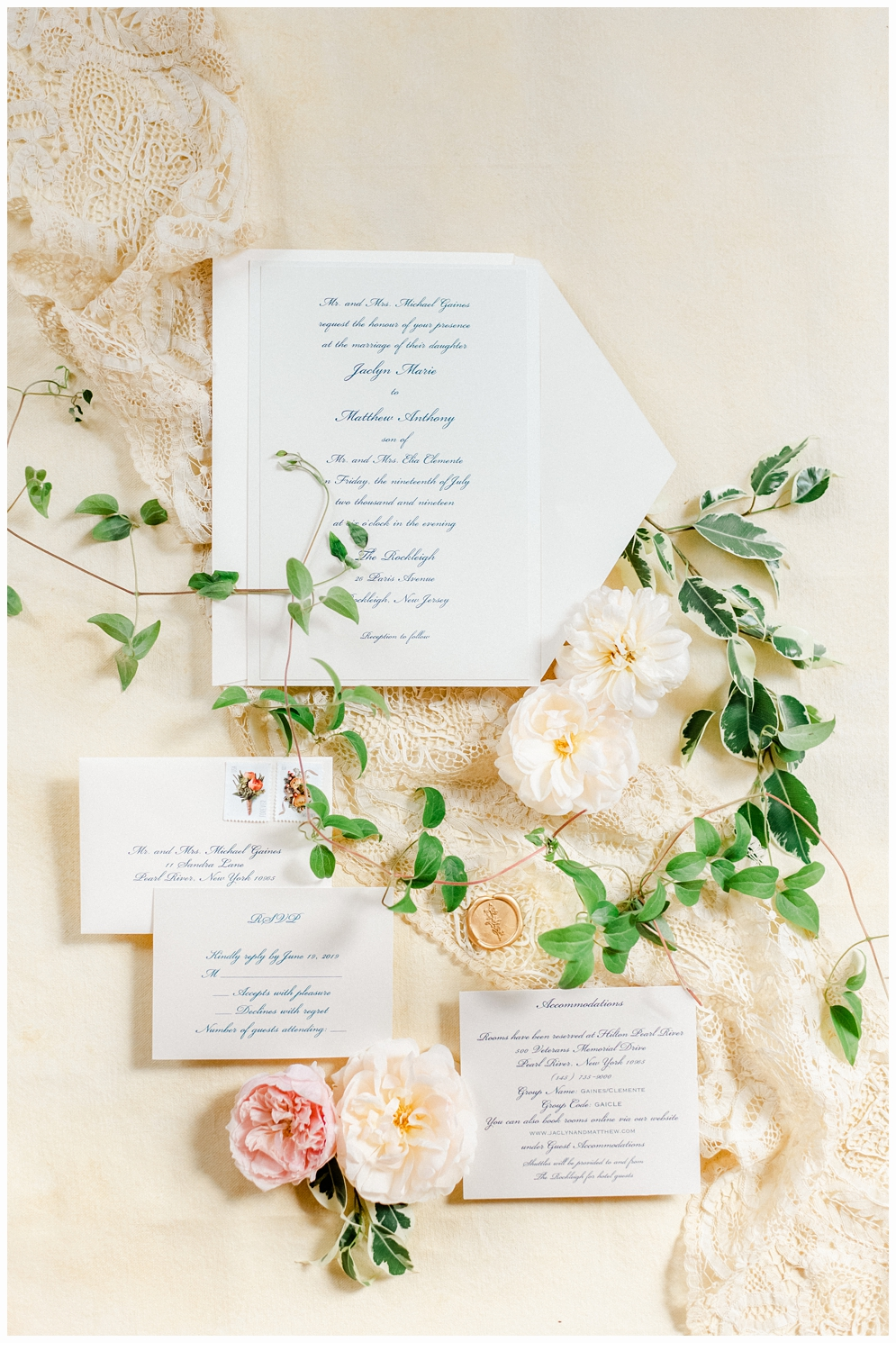 wedding invitaion with pretty flowers