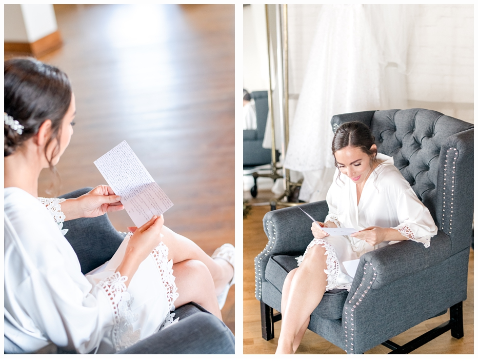 bride reading a love letter from her groom on wedding day