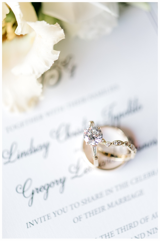 wedding rings on wedding invitation with flowers