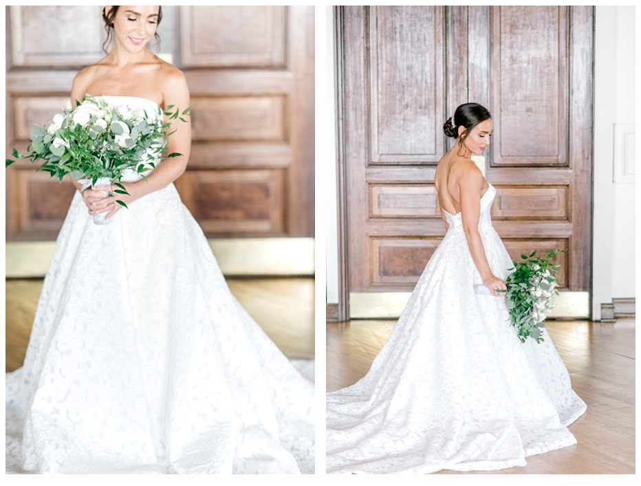 bridal portraits of bride in wedding dress holding bouquet