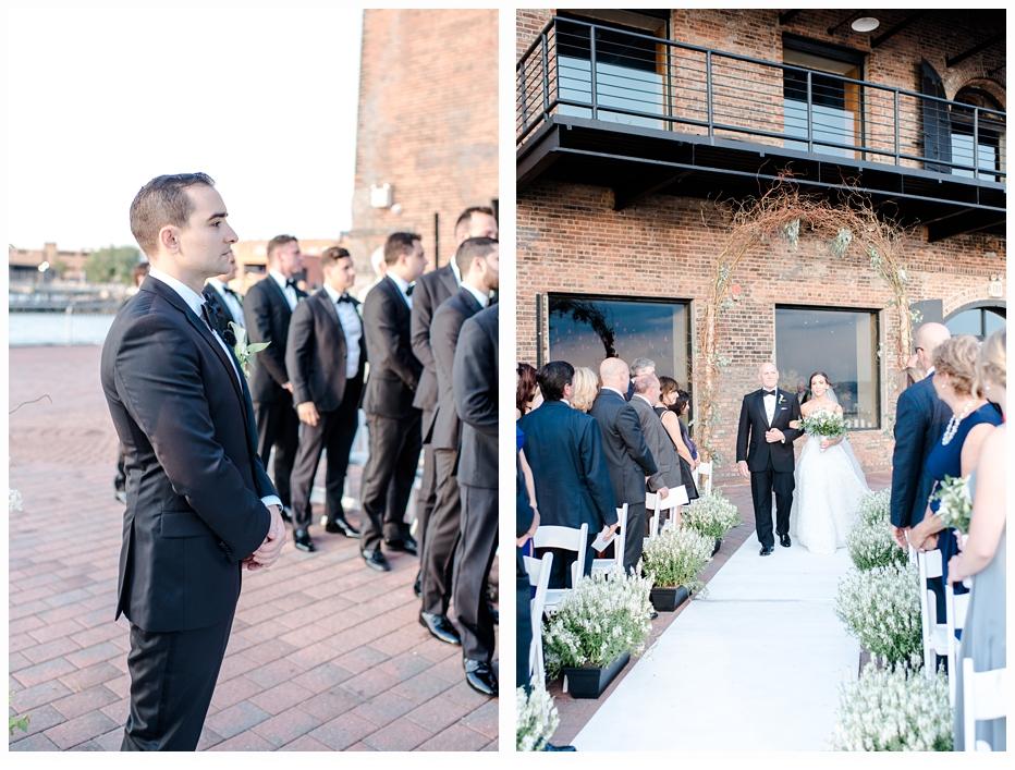 groom seeing bride walking down aisle with her dad
