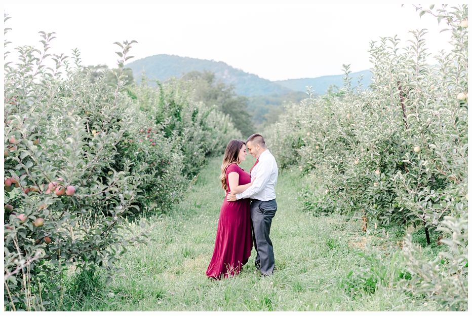 engaged couple hugging in warwick valley winery