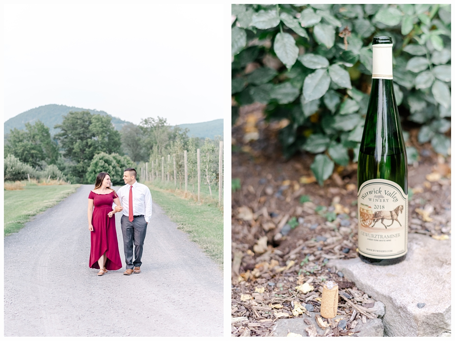 bottle of wine with cork and engagement ring on a stone wall