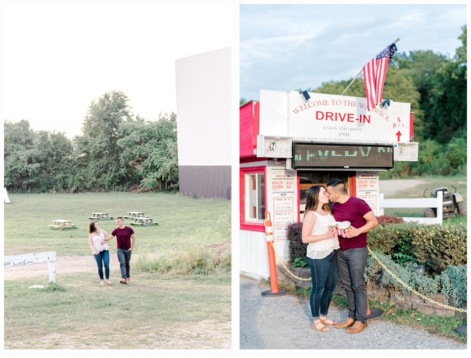 engaged couple sharing popcorn at a drive-in theater