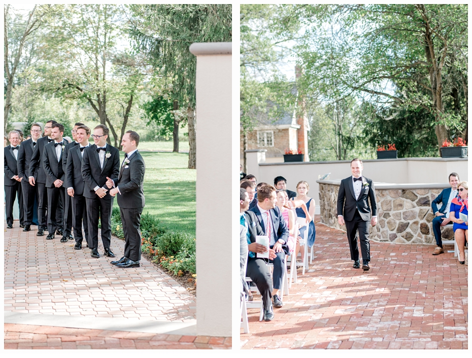 groom walking down aisle to get married