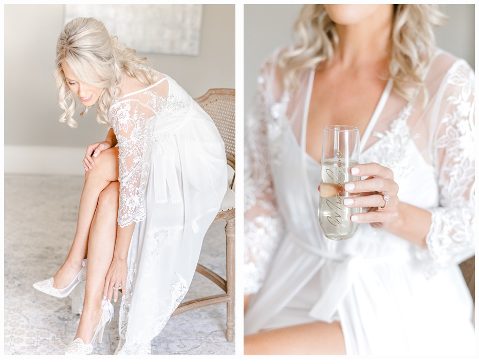 bride having a glass of champagne on her wedding day