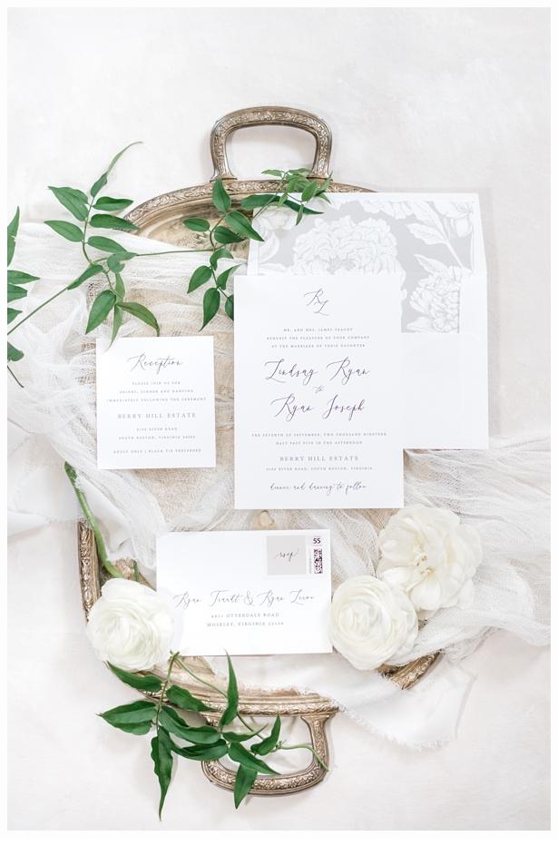 wedding invitation suite on a pretty antique gold tray