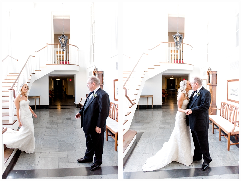 bride and father of the bride seeing each other on wedding day