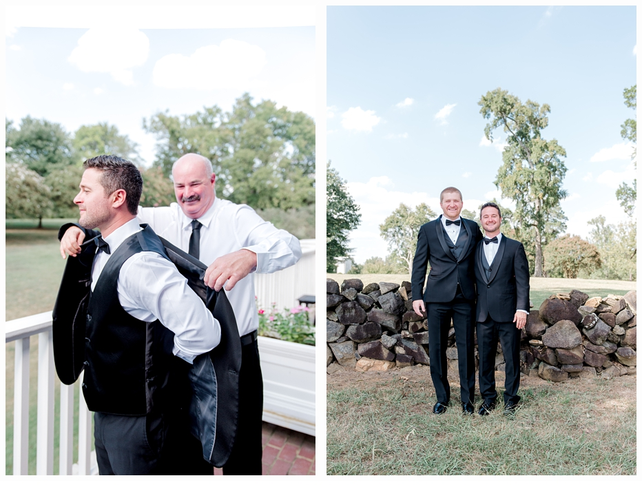 father of the groom helping him put on his jacket