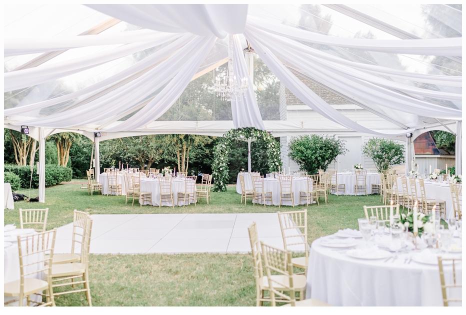 reception at a tent