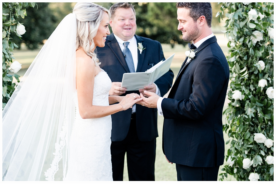 bride and groom exchanging their vows