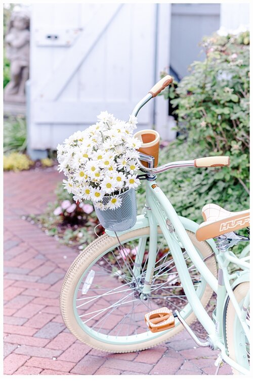 green bicycle with a basket of flowers