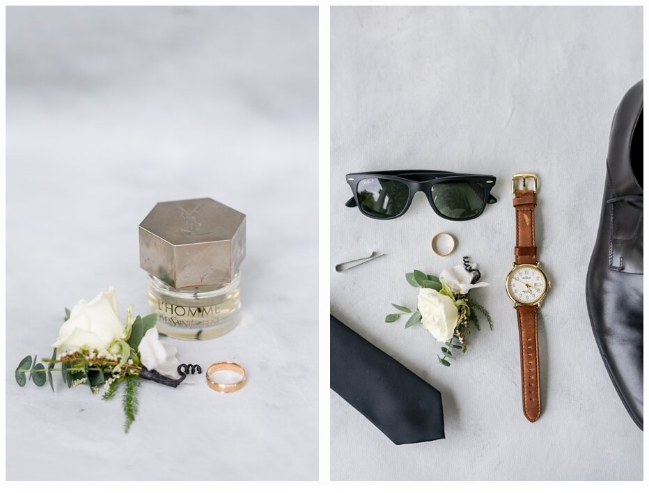 groom's shoes, tie and sunglasses and watch