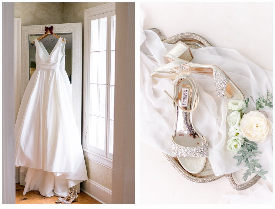 wedding gown and wedding shoes