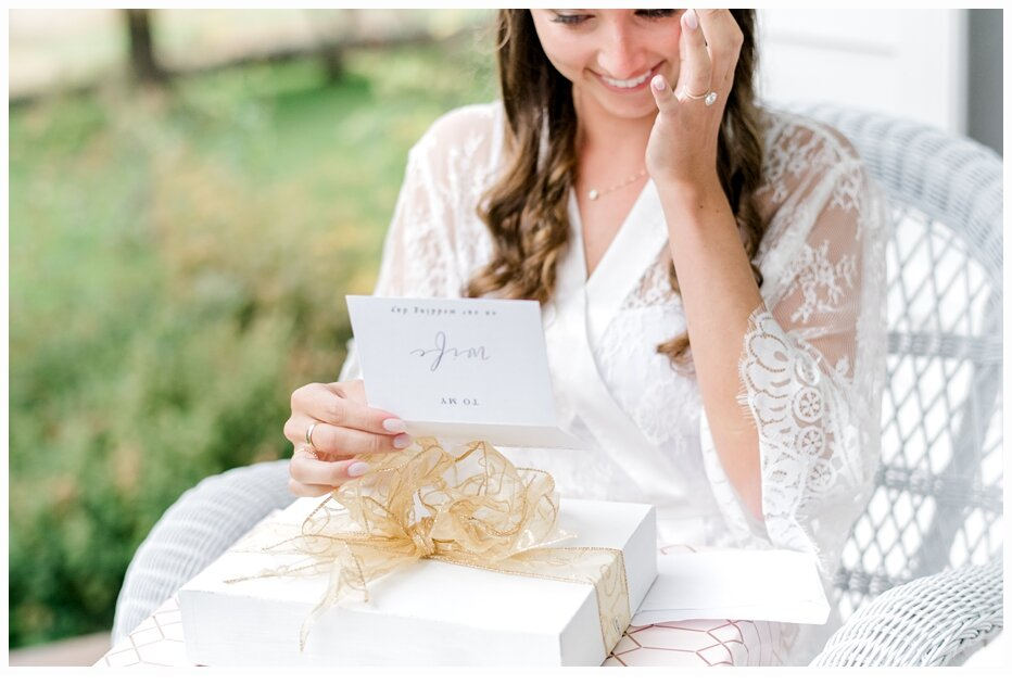 bride reading a letter from groom
