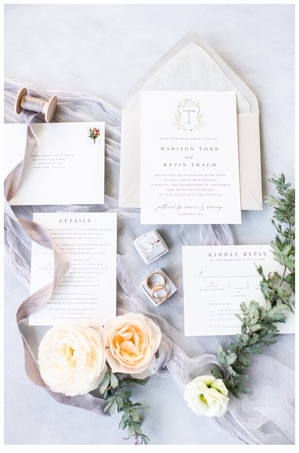 wedding invitation suite with flowers