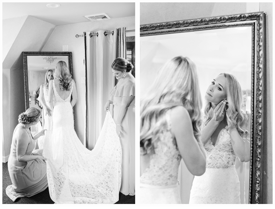 bride and sisters getting ready on wedding day