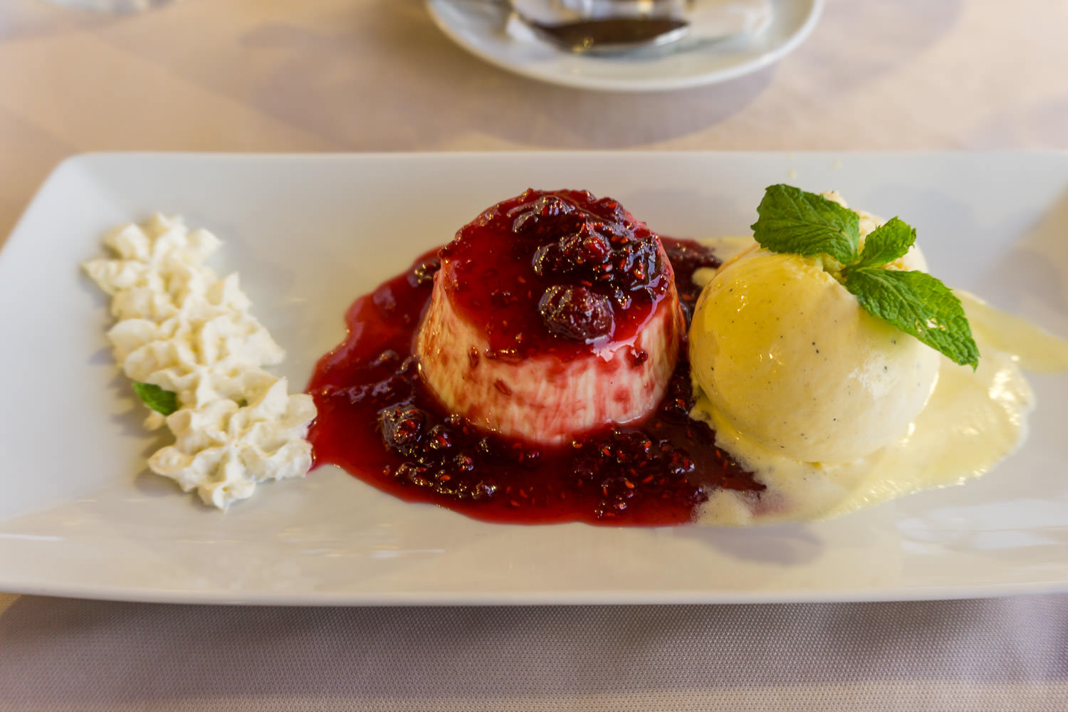 Panacotta with raspberry sauce