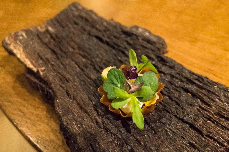 Salted gooseberry and herb tart (v)