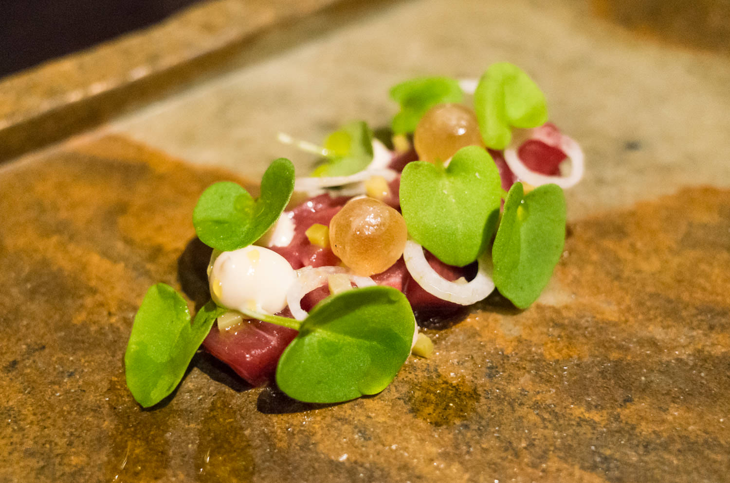 Aged veal in coal oil, shallot and sorrel