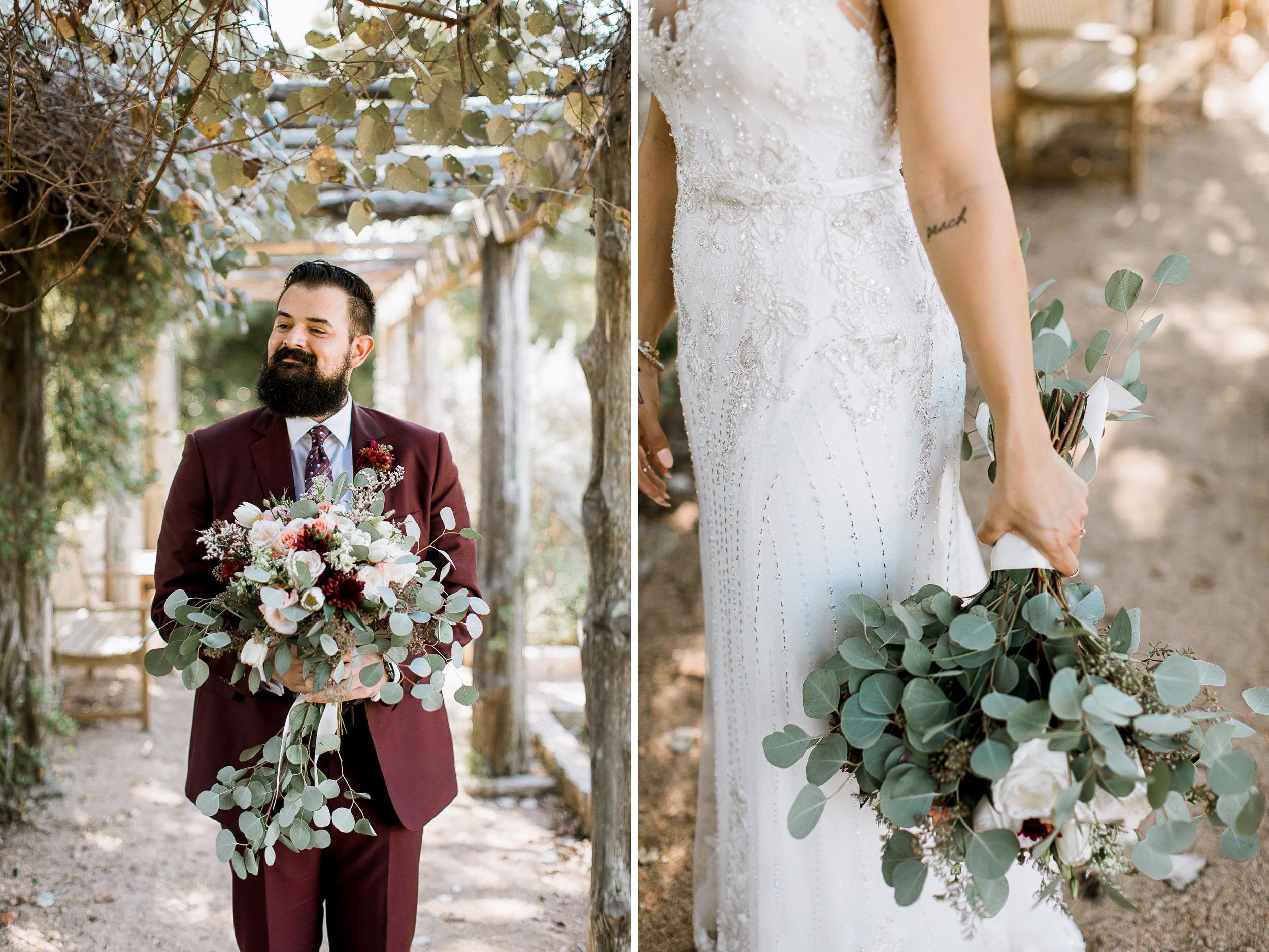 hipster bride & groom // Fall Garden party wedding at Lady Bird Johnson Wildflower Center // austin, texas wedding photographer // www.abbihearne.com