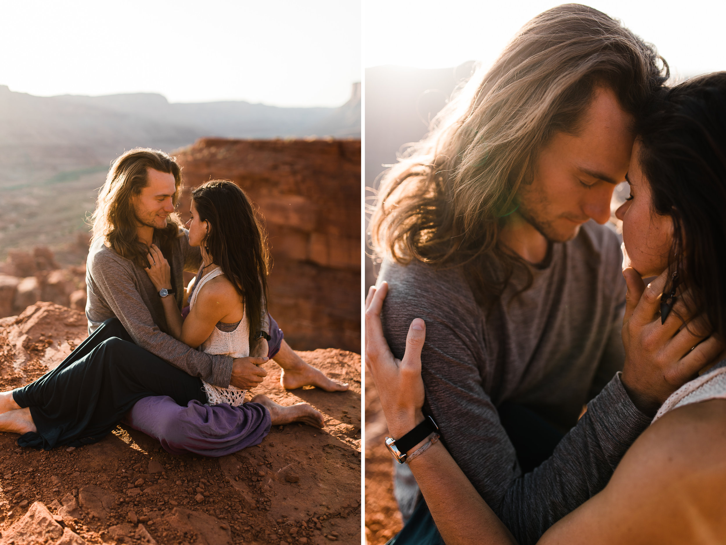 extreme acro-yoga engagement session in moab, utah // desert elopement inspiration // adventure wedding photographers // the hearnes adventure wedding photography // www.thehearnes.com