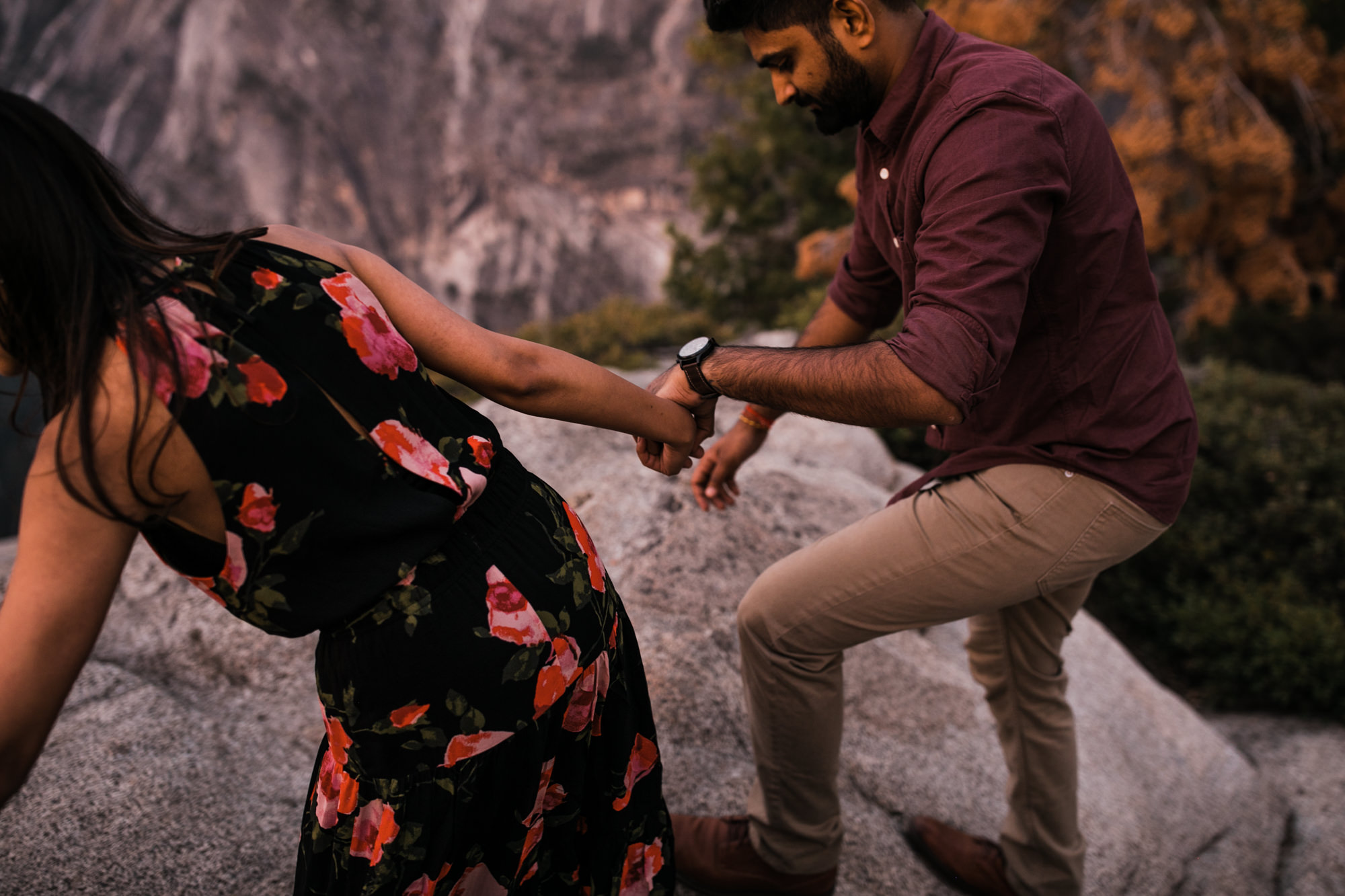 dreema + jay's adventurous engagement session + surprise proposal | yosemite valley + glacier point, yosemite national park | destination elopement photographer | www.thehearnes.com