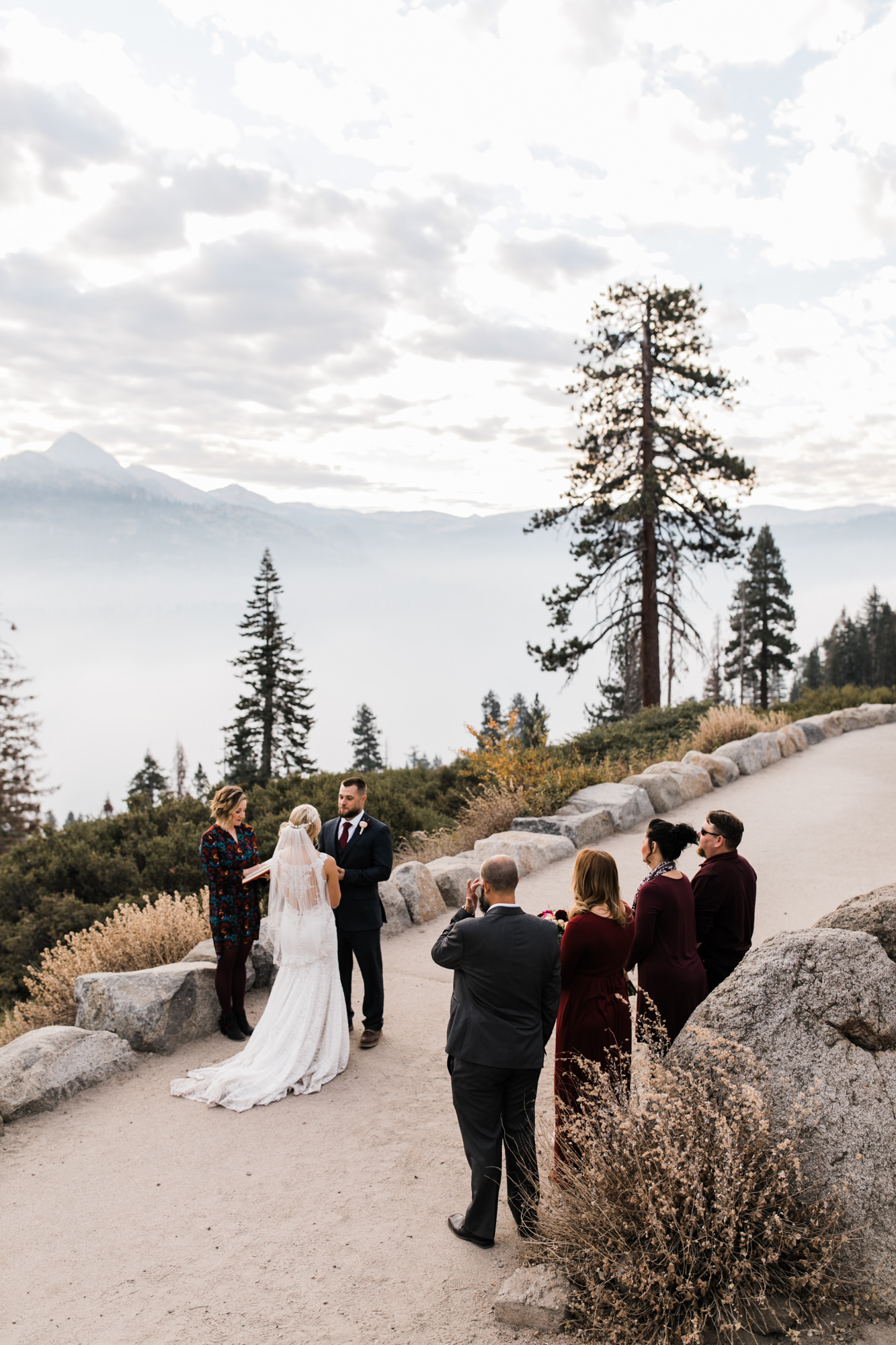 intimate wedding at glacier point | yosemite national park | destination wedding photographer | the hearnes adventure photography | www.thehearnes.com