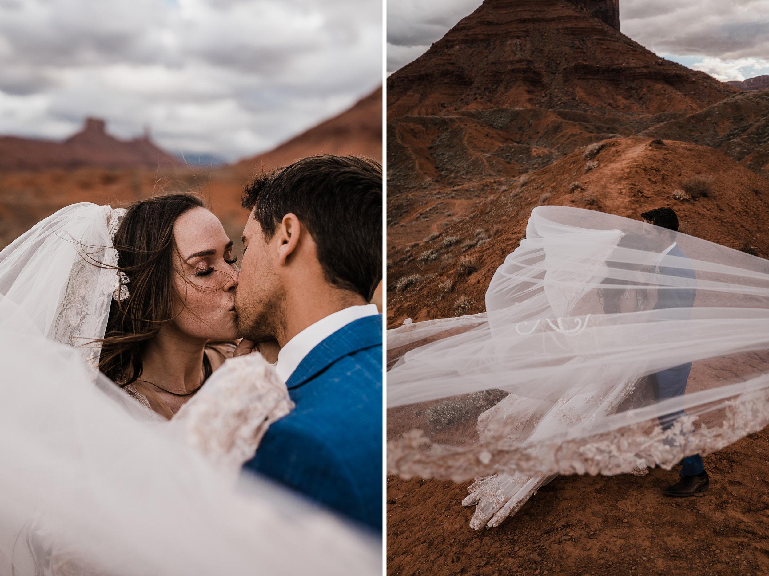 first look bridal session in the moab desert | adventurous utah elopement | lily rose by galia lahav | utah spacenet wedding | the hearnes adventure photography | www.thehearnes.com