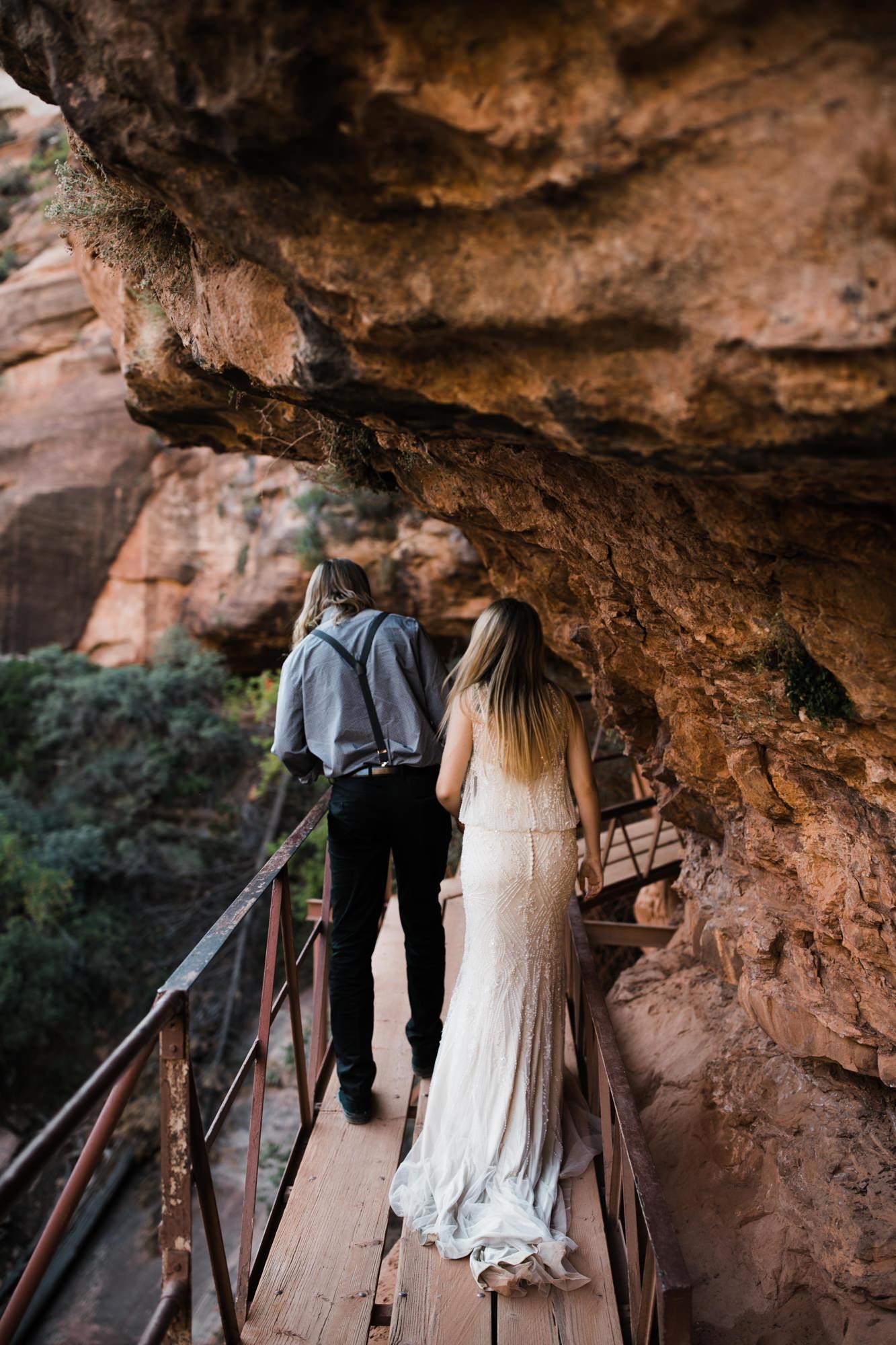 hiking elopement in zion national park | destination adventure wedding photographers | the hearnes adventure photography | www.thehearnes.com