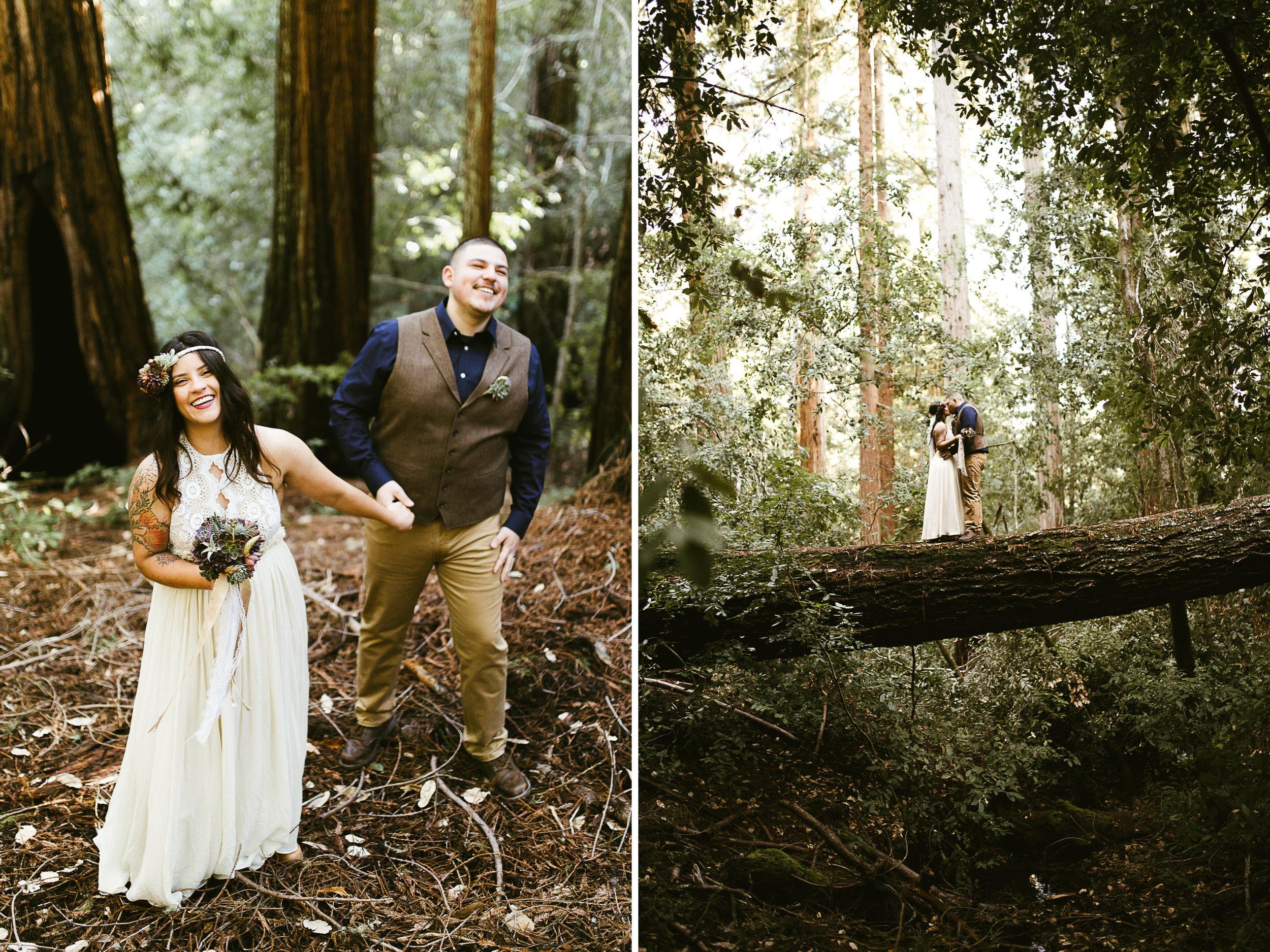 hiking elopement in california redwood forest | destination adventure wedding photographers | the hearnes adventure photography | www.thehearnes.com