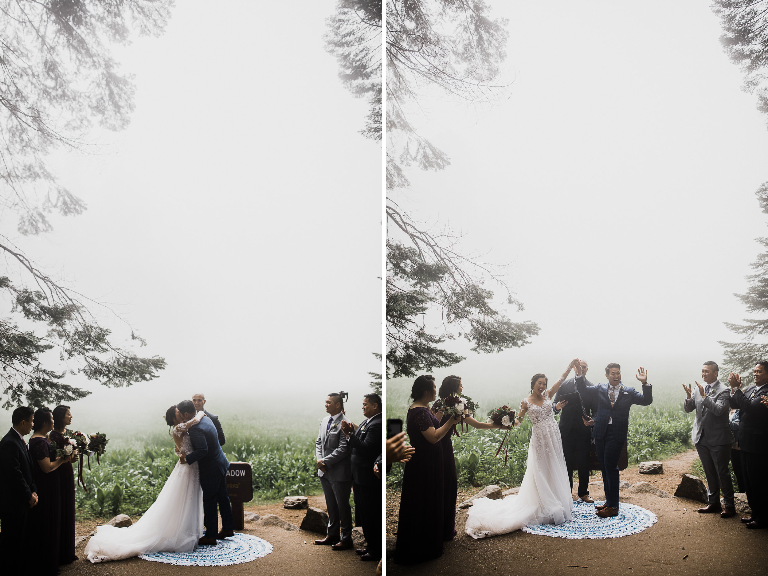 foggy elopement in sequoia national park | destination adventure wedding photographers | the hearnes adventure photography | www.thehearnes.com