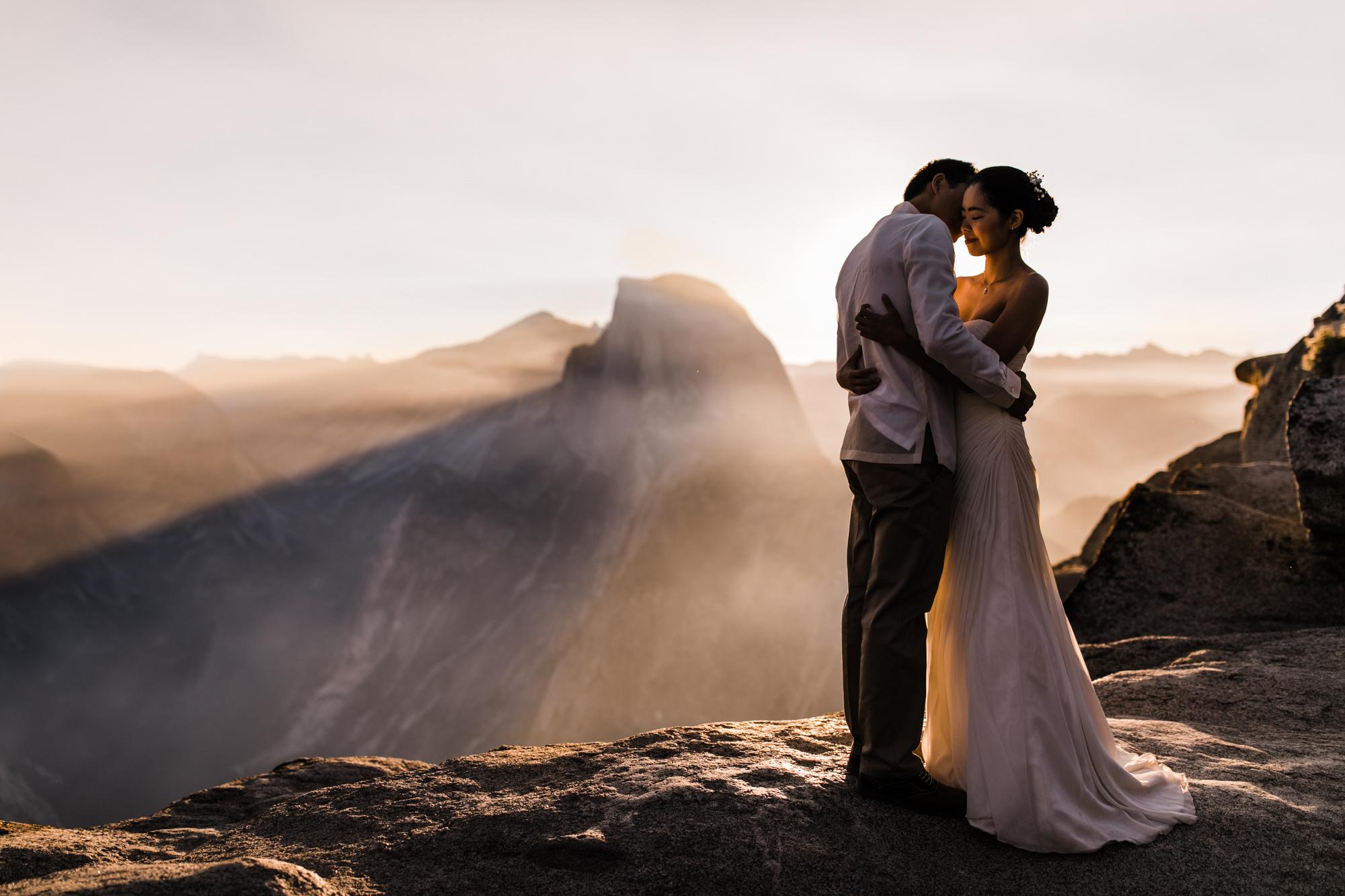 sunrise adventure elopement in yosemite national park | destination adventure wedding photographers | the hearnes adventure photography | www.thehearnes.com