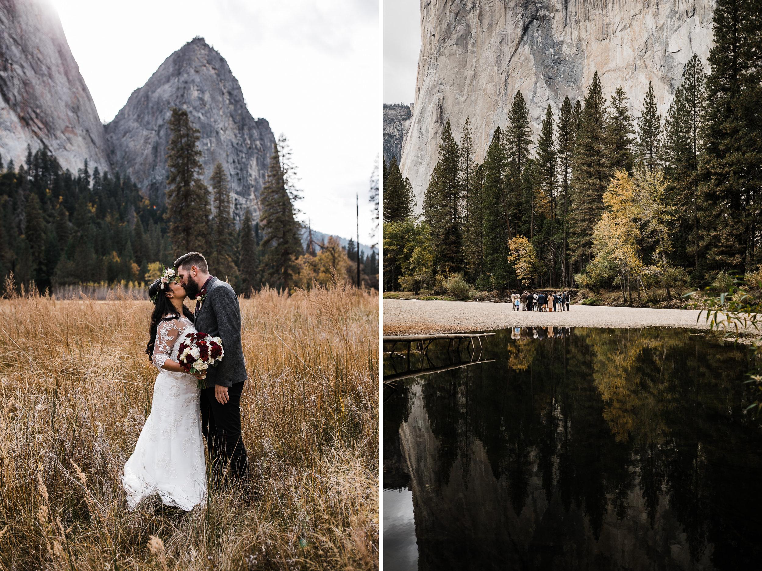 intimate fall wedding day in yosemite national park | destination adventure wedding photographers | the hearnes adventure photography | www.thehearnes.com
