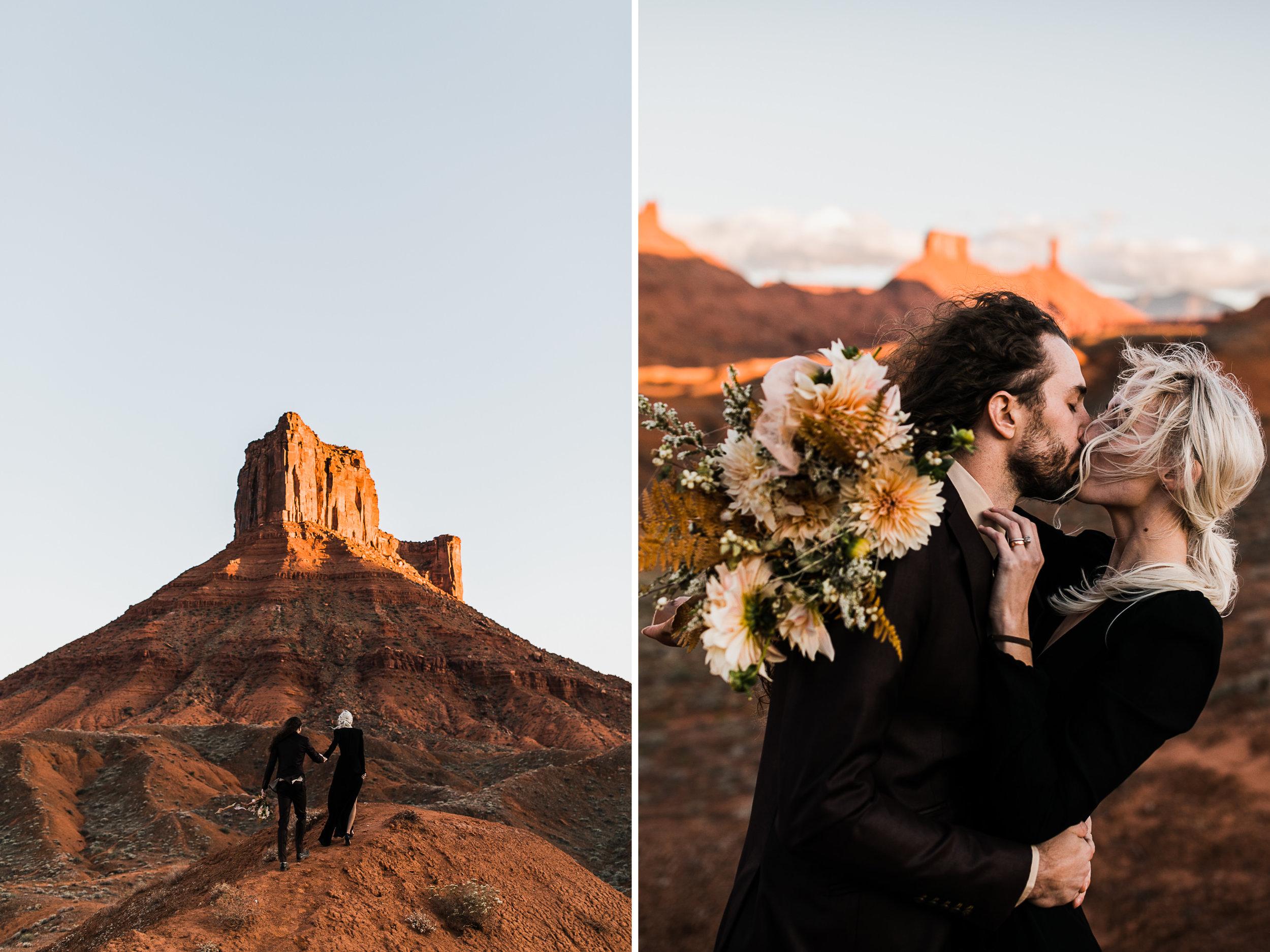 moab, utah intimate elopement in the desert + black wedding dress | destination adventure wedding photographers | the hearnes adventure photography | www.thehearnes.com