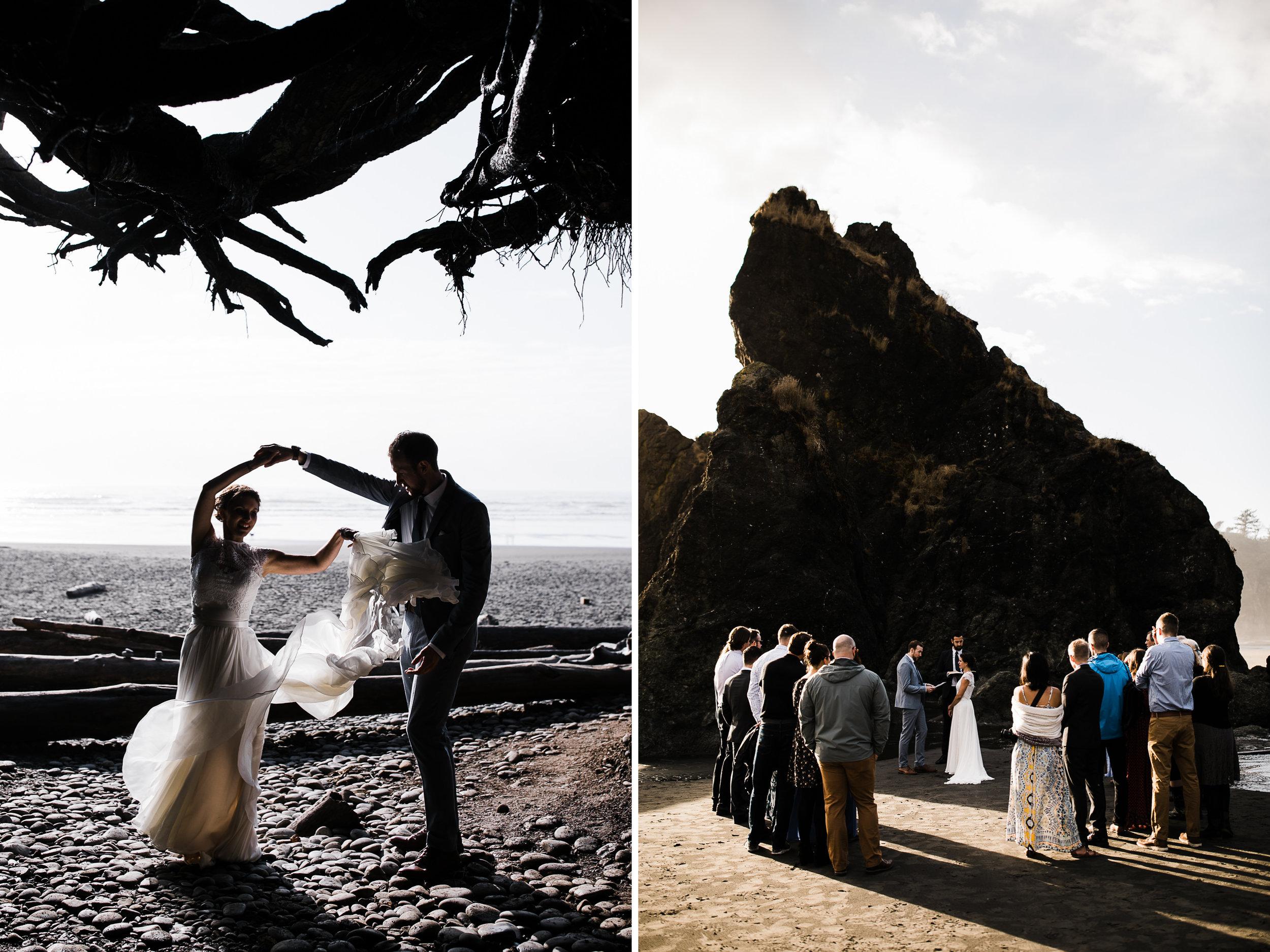 intimate rainy wedding day in olympic national park | destination adventure wedding photographers | the hearnes adventure photography | www.thehearnes.com