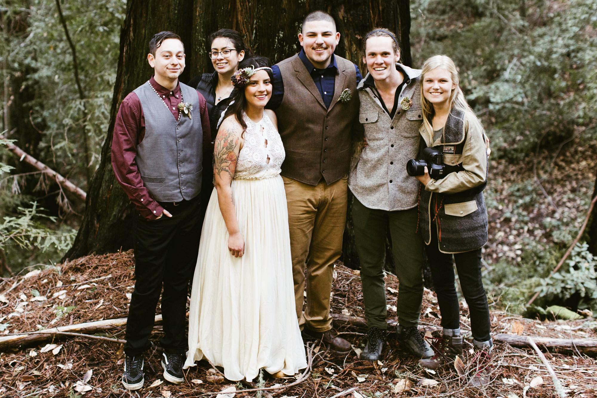 hiking elopement in the california redwoods forest | destination adventure wedding photographers | the hearnes adventure photography | www.thehearnes.com