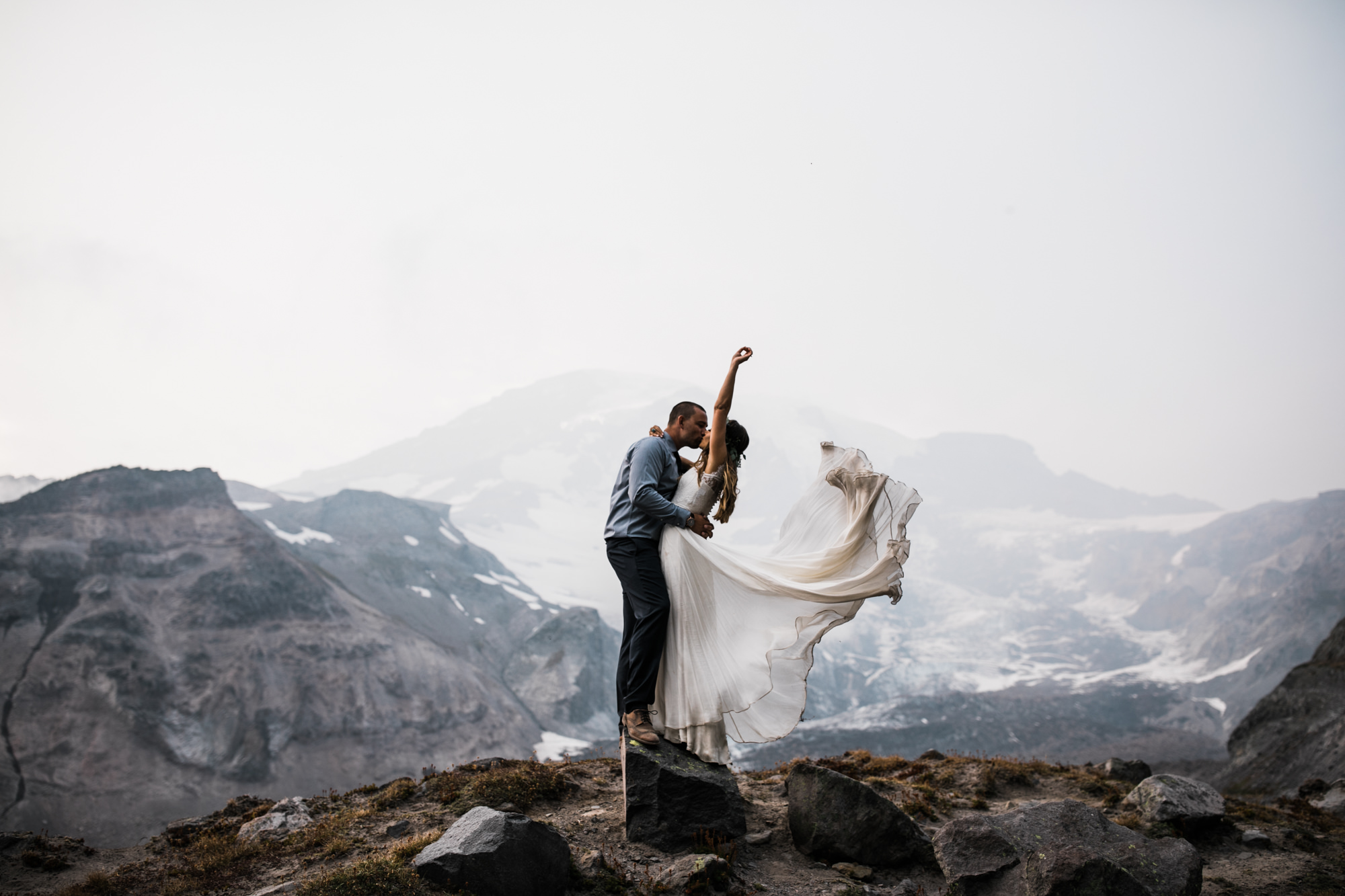 mount rainier elopement wedding couple on the mountain