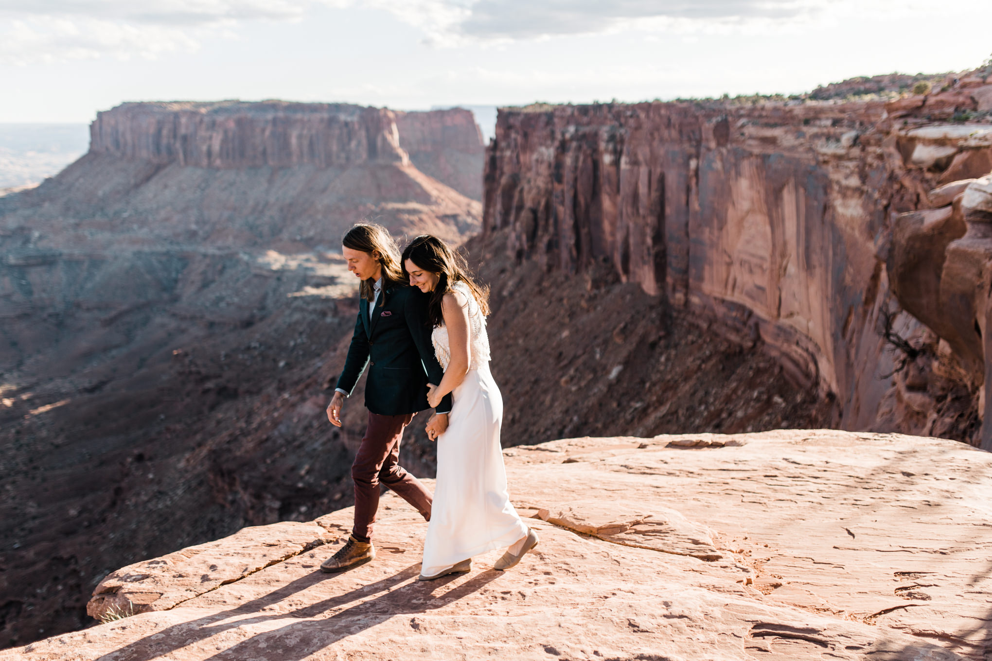 bride and groom couple on their wedding day in canyonlands national park near moab utah