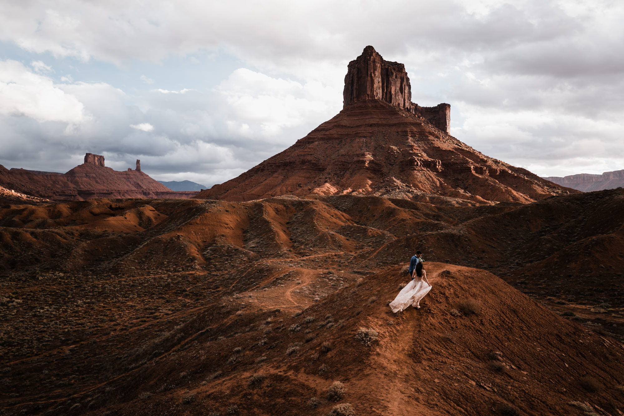 Bride and groom on their wedding day in moab utah