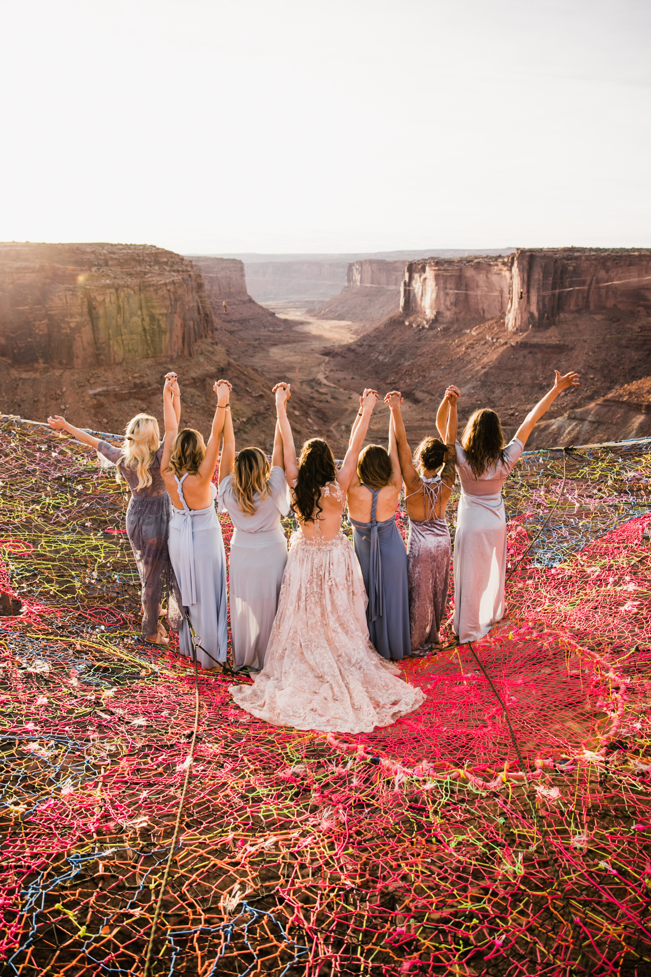 bridesmaids in hues of blue in moab utah