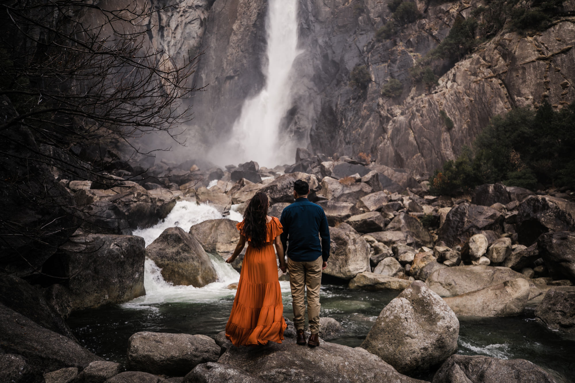 waterfalls + meadows engagement session in yosemite national park | adventurous elopement photographer | the hearnes adventure photography | www.thehearnes.com