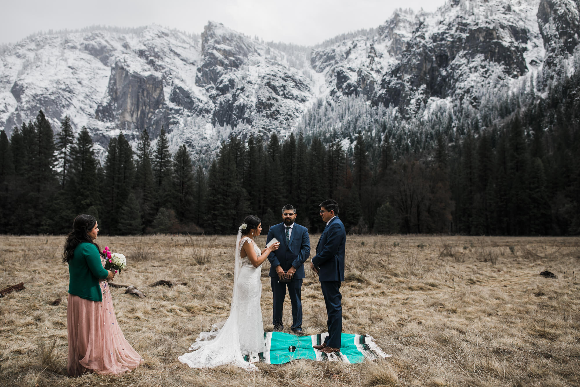 elopement in yosemite national park surrounded by snowy mountains, intimate wedding day inspiration