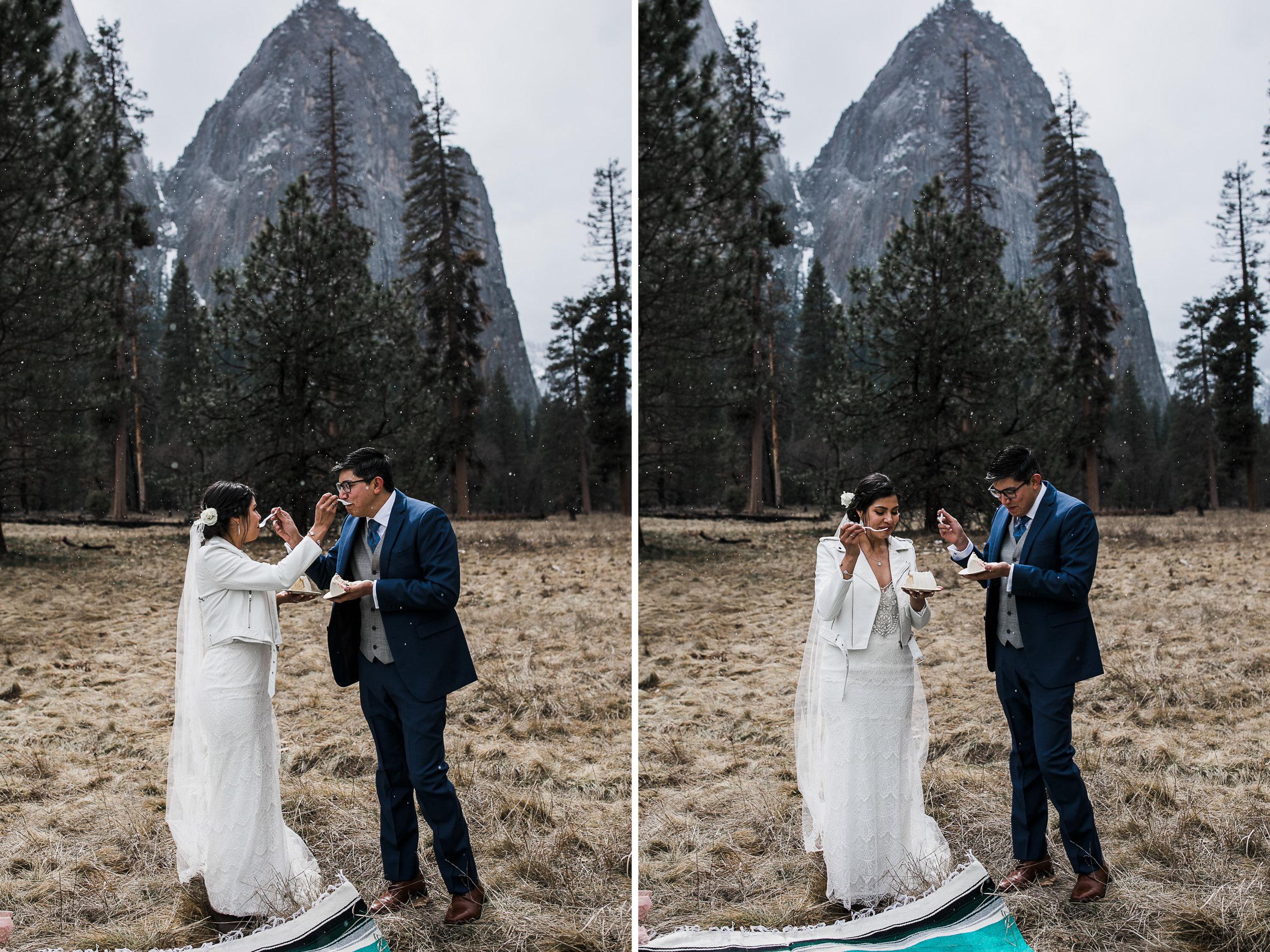 mini wedding cake for an elopement in yosemite