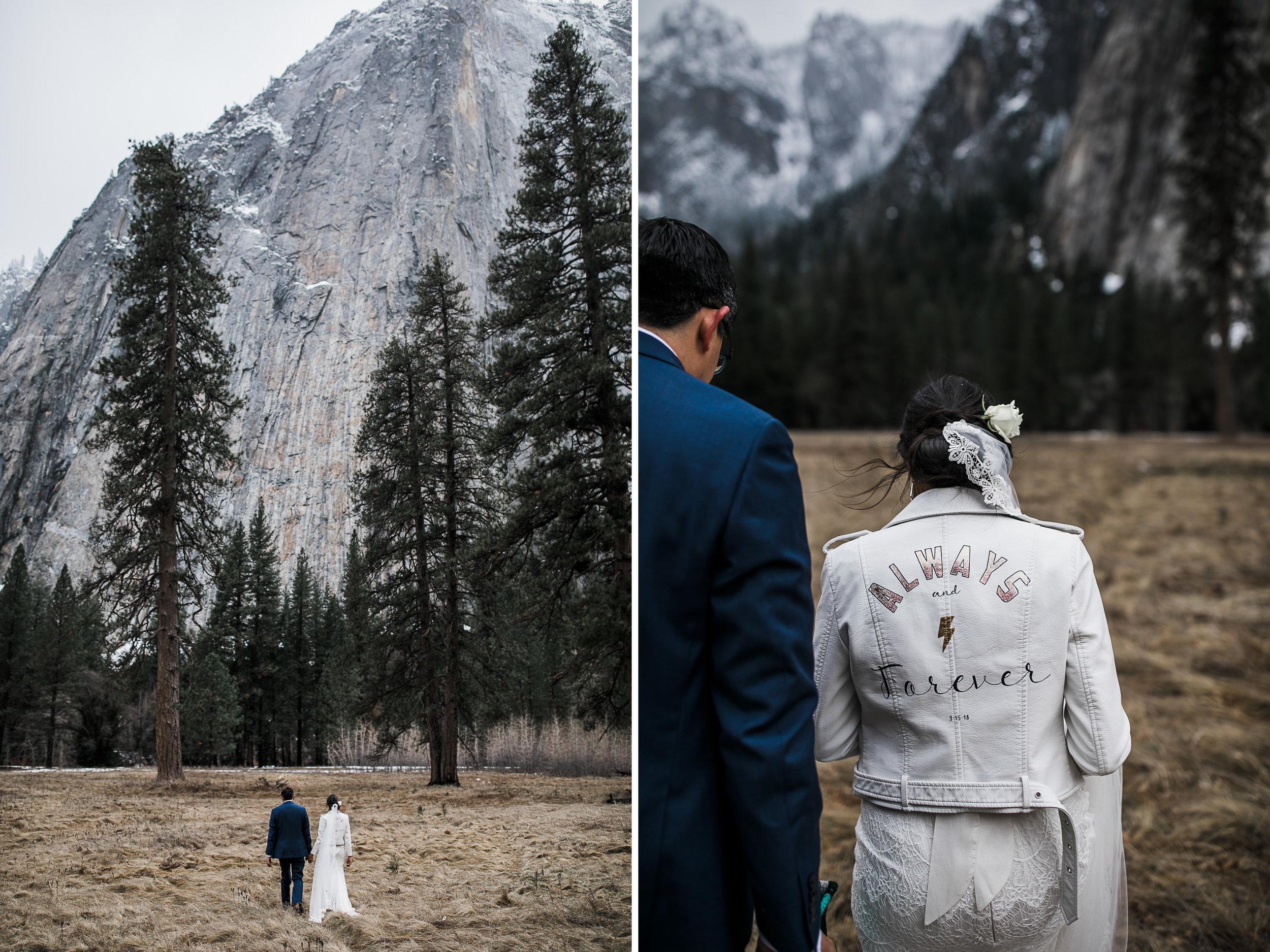 snowy wedding day in yosemite national park