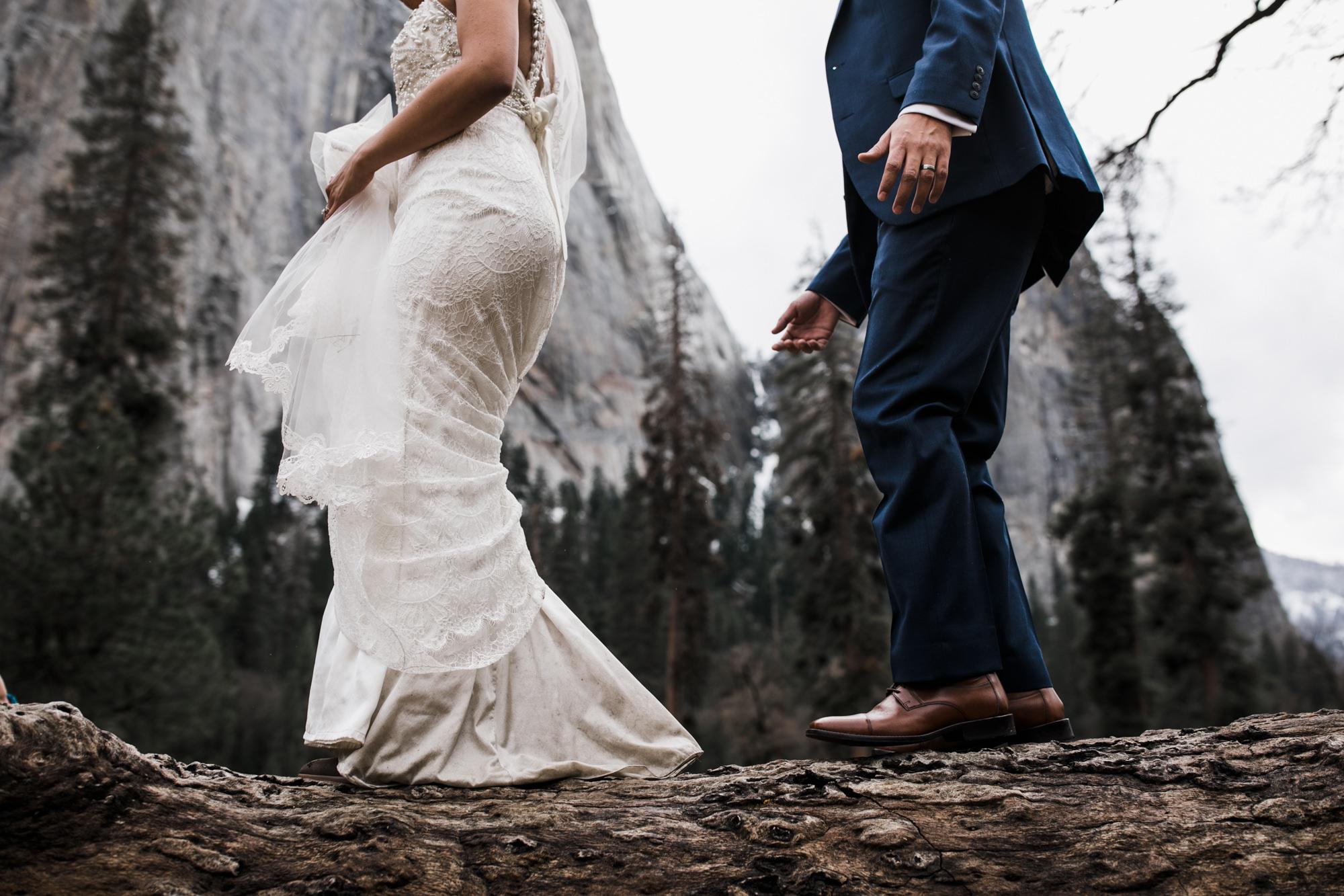 adventurous bride and groom in yosemite national park
