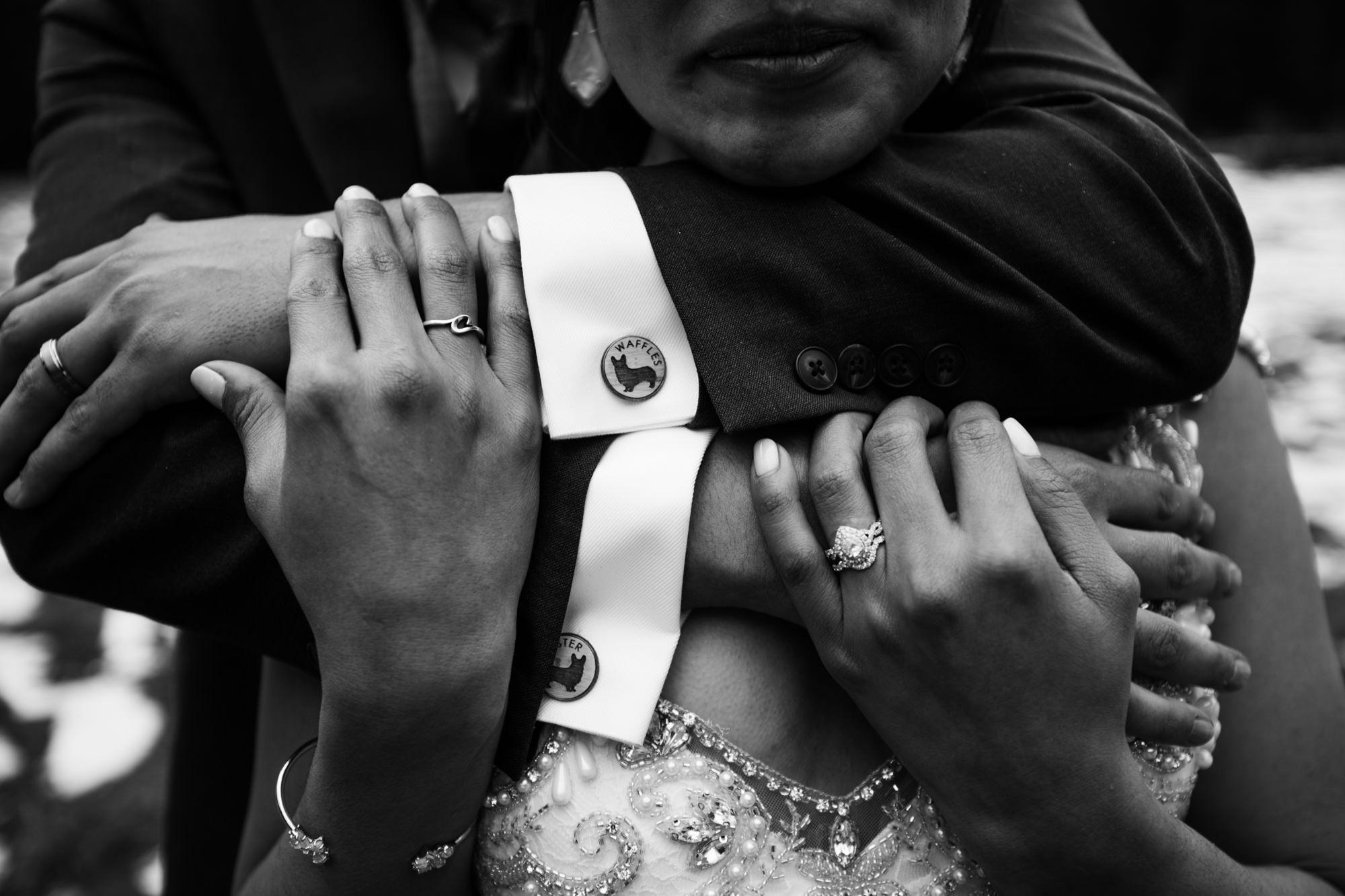 custom groom accessories wearing wooden cufflinks