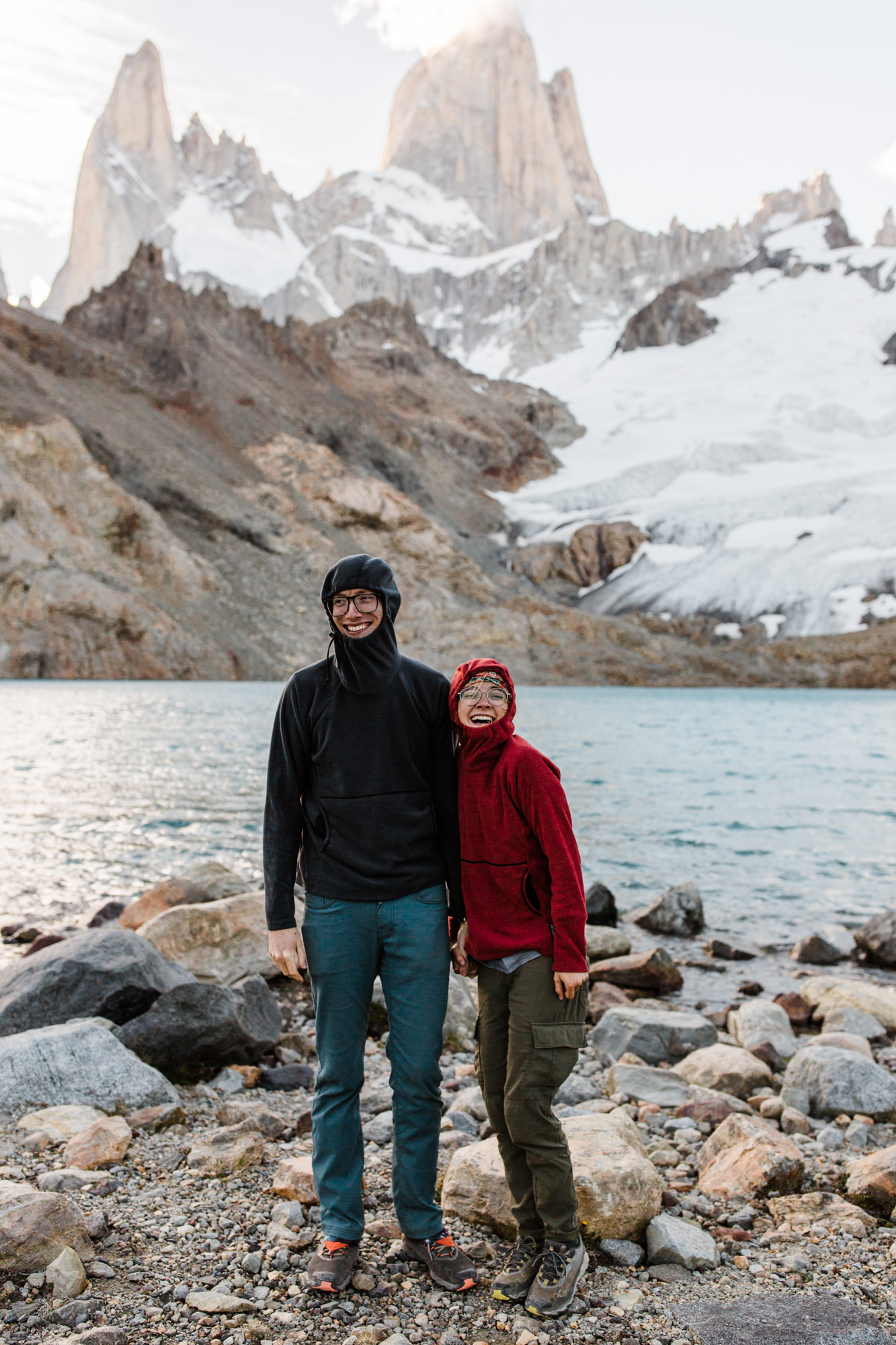 backpacking near Fitz Roy in Patagonia | Camp Poincenot + Lago De Los Tres | adventure elopement inspiration | the hearnes adventure wedding photography