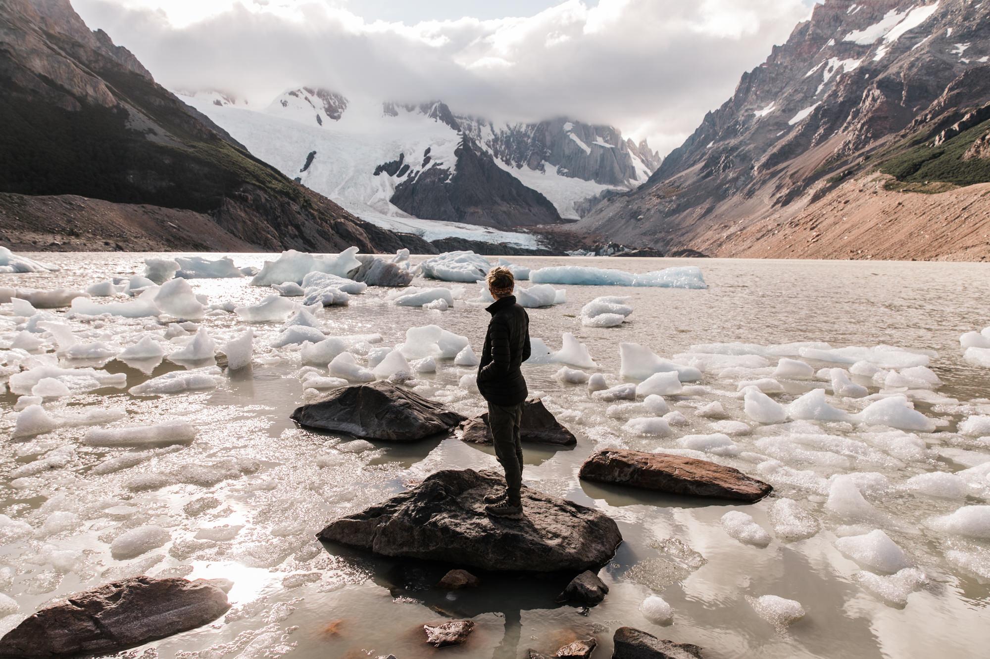 backpacking near cerro torre in Patagonia | campo de augostini +lago torre iceberg lagoon | adventure elopement inspiration | the hearnes adventure photography